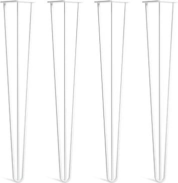 4 Patas A Horquilla Para Mesa Con Tornillos Gu/ía Y Bases Protectoras Incluidas En Todos Los Acabados Desde 10 Hasta 86cm Robustas En Acero 10mm Doble Soldadura Estilo Moderno Retro Mediano Siglo
