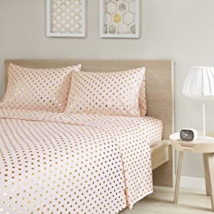 Intelligent Design Metallic Dot Printed Ultra Soft Hypoallergenic Microfiber Glam Chic Cute Sheet Set Bedding, Full Size, Blush/Gold 4 Piece