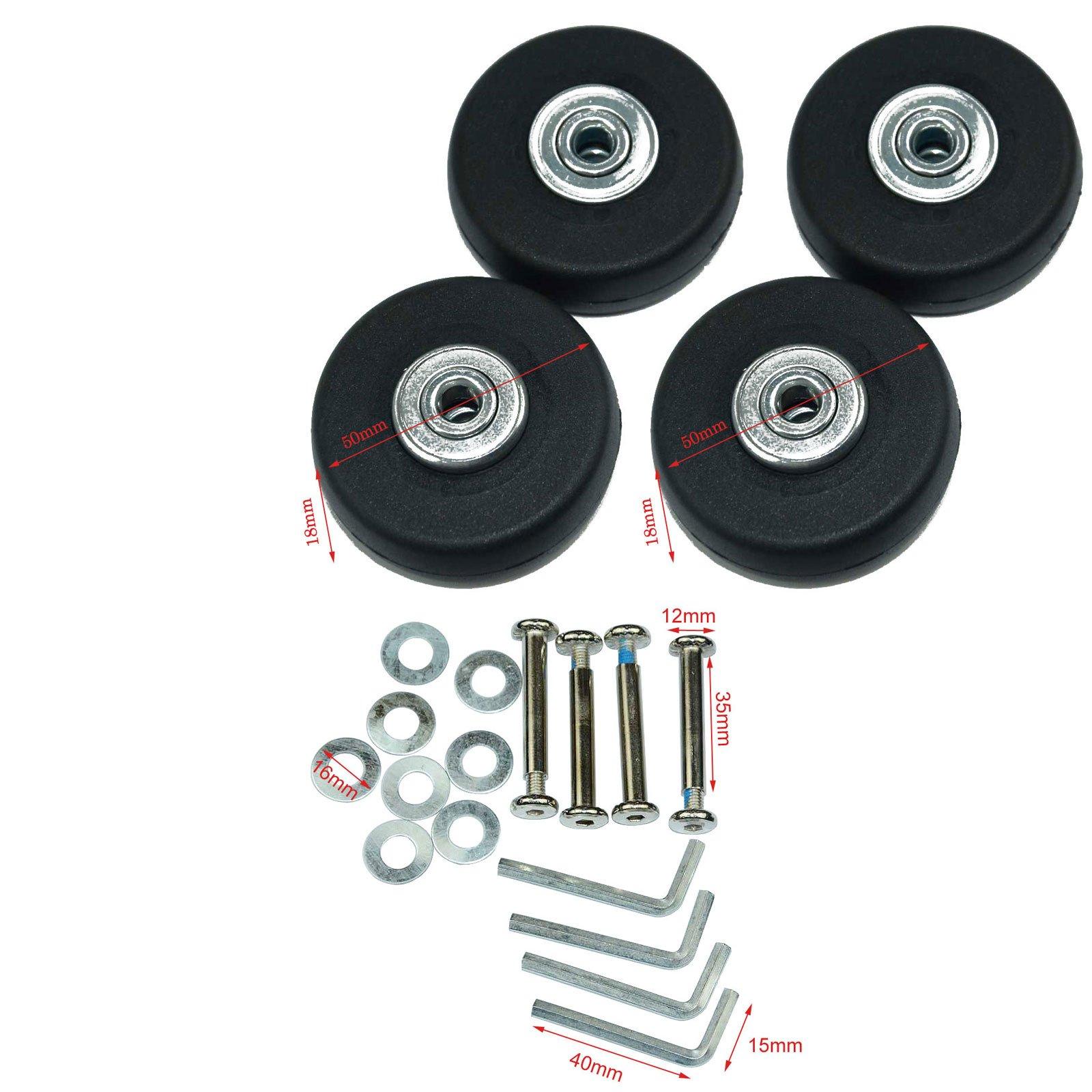 Lovinstar 4Pcs/Set Luggage Suitcase Replacement Wheels OD 50 (1.97'') 18 Axles 35 Repair Set for Luggage Suitcase Repair