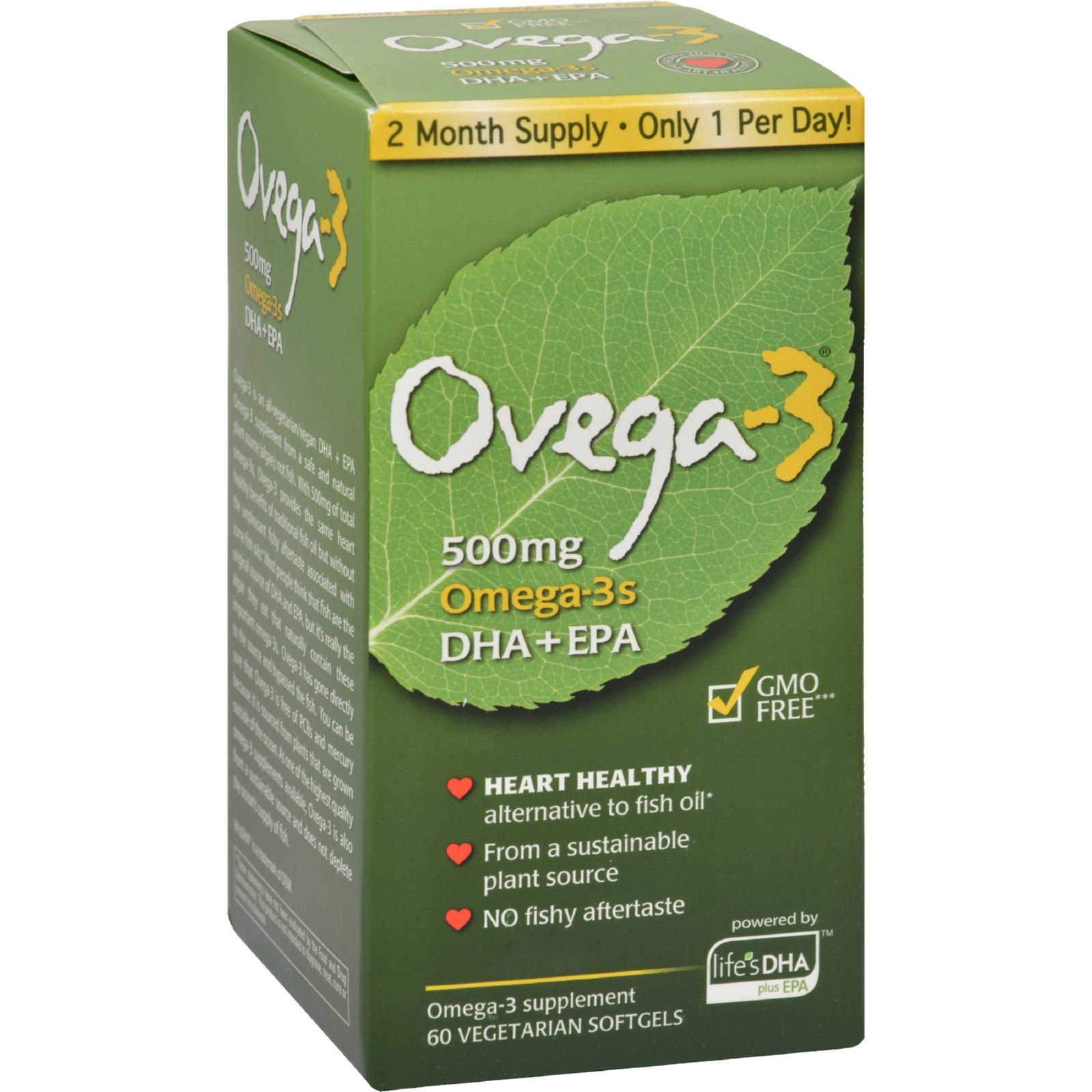 Amerifit Nutrition Ovega-3 - 500 mg - Non GMO - 60 Vegetarian Softgels (Pack of 2)