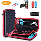 HEYSTOP Nintendo Switch Carrying Case,Clear Case Dockable,Tempered Glass Screen Protector,Thumb Grips Caps, 4 in 1 Accessories Kit for Switch
