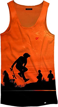 DRESSSOME - camiseta de tirantes para hombre con diseño skate Orange en impresión full print, con tejido de poliéster: Amazon.es: Ropa y accesorios