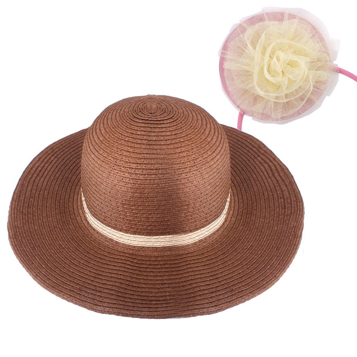 YOPINDO Girl Hat Purse Set Straw Sun Hat Floppy Summer Beach Cap with Hand Bag (Style A-Pink)
