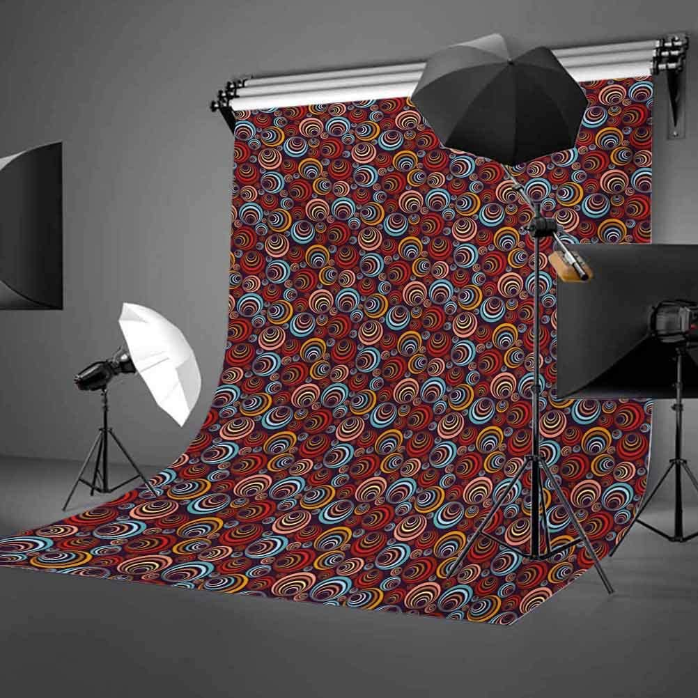 Abstract 8x10 FT Backdrop Photographers,Geometric Vibrant Image Circular Pattern in Various Sizes Colorful Shapes Surreal Background for Baby Shower Bridal Wedding Studio Photography Pictures