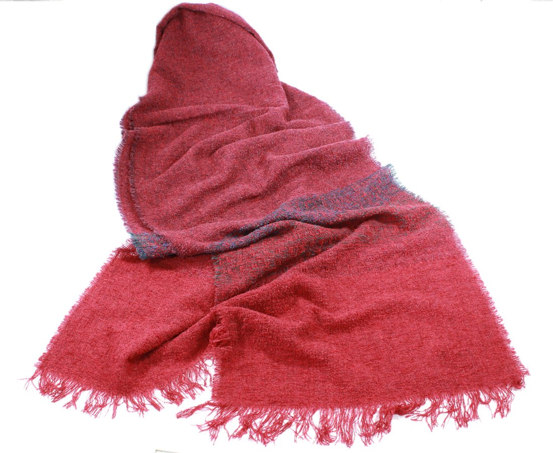 Long Scarf Stole Rich Red 84'' Soft Lambswool Blend