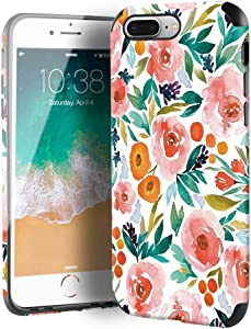 CUSTYPE iPhone 7 Plus Case, iPhone 8 Plus Case for Girls & Women, Floral Series Watercolor Camellia Flower Pattern Design Leather with TPU Bumper Slim Protective Cover for iPhone 8 Plus/ 7 Plus 5.5''