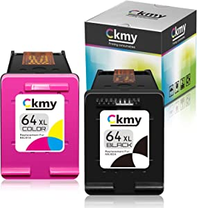 CKMY Remanufactured 64XL Ink Cartridge Replacement for HP 64 XL Combo Pack for Envy Photo 7800 7858 7155 7855 6255 6252 7158 7164 6222 7120 7130 Tango X Smart Home Wireless Printers ( Showing Ink )