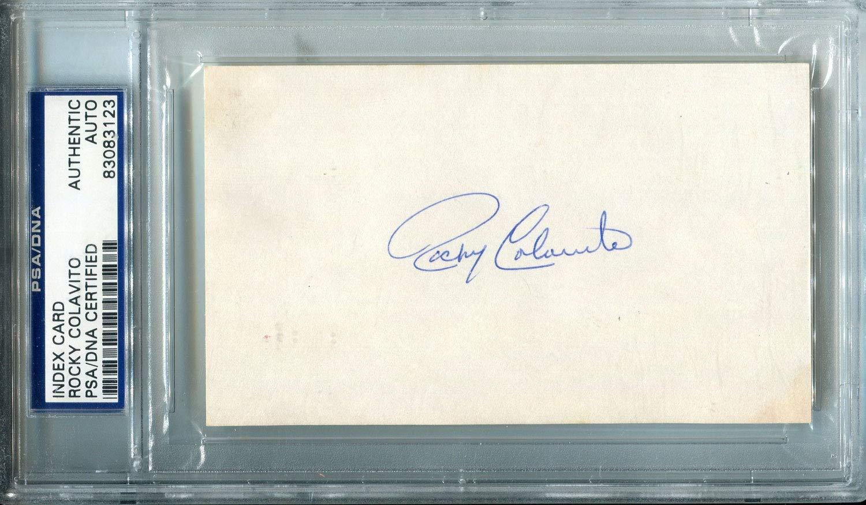 Rocky Colavito Autographed 3x5 Card (PSA)