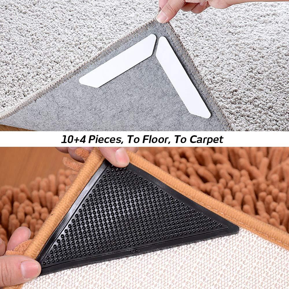 14 Almohadillas Antideslizantes de Agarre para Alfombra 10 Unidades trapezoidales y 4 Pinzas Triangulares para alfombras con Almohadilla Adhesiva renovable para Suelos de Madera SourceTon