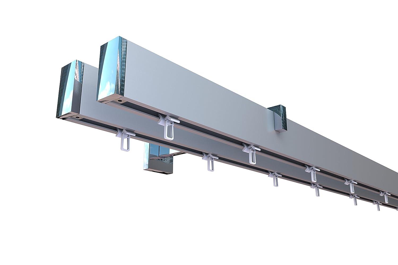 Innenlauf Gardinenstangen Set eckig LONG, 2-läufig, Aluminium silbert eloxiert   verchromt, 400 cm, langer Träger