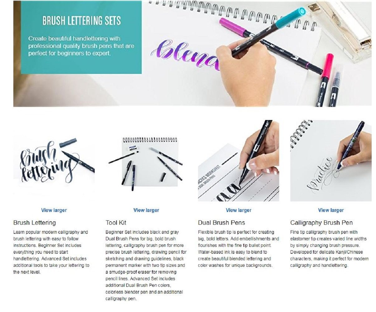 Lettering kit : Tombow Lettering Set Marker & Lettering and Modern Calligraphy: A Beginner's Guide: Learn Hand Lettering and Brush Lettering by American Tombow (Image #7)