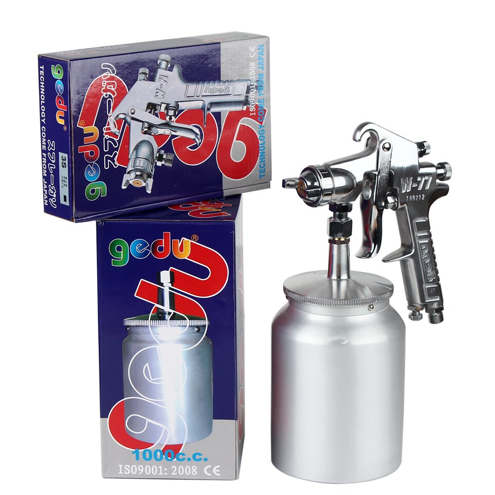 High Pressure Spray Gun with 1000cc Cup, 2.5mm Nozzle, sliver by Gedu (Image #9)