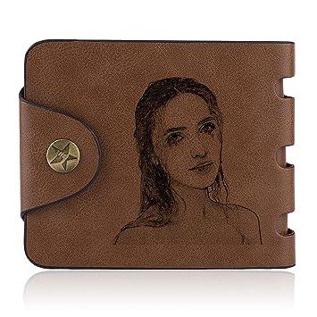 Billetera Hombre Pequeña de Cuero Cartera Billetera Personalizado de Foto: Amazon.es: Equipaje