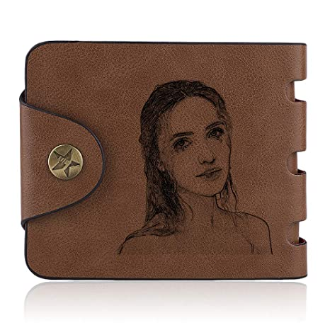Personalized mens soft leather brown short retro wallet buckle casual wallet zipper custom photo wallet birthday gift at Amazon Mens Clothing store: