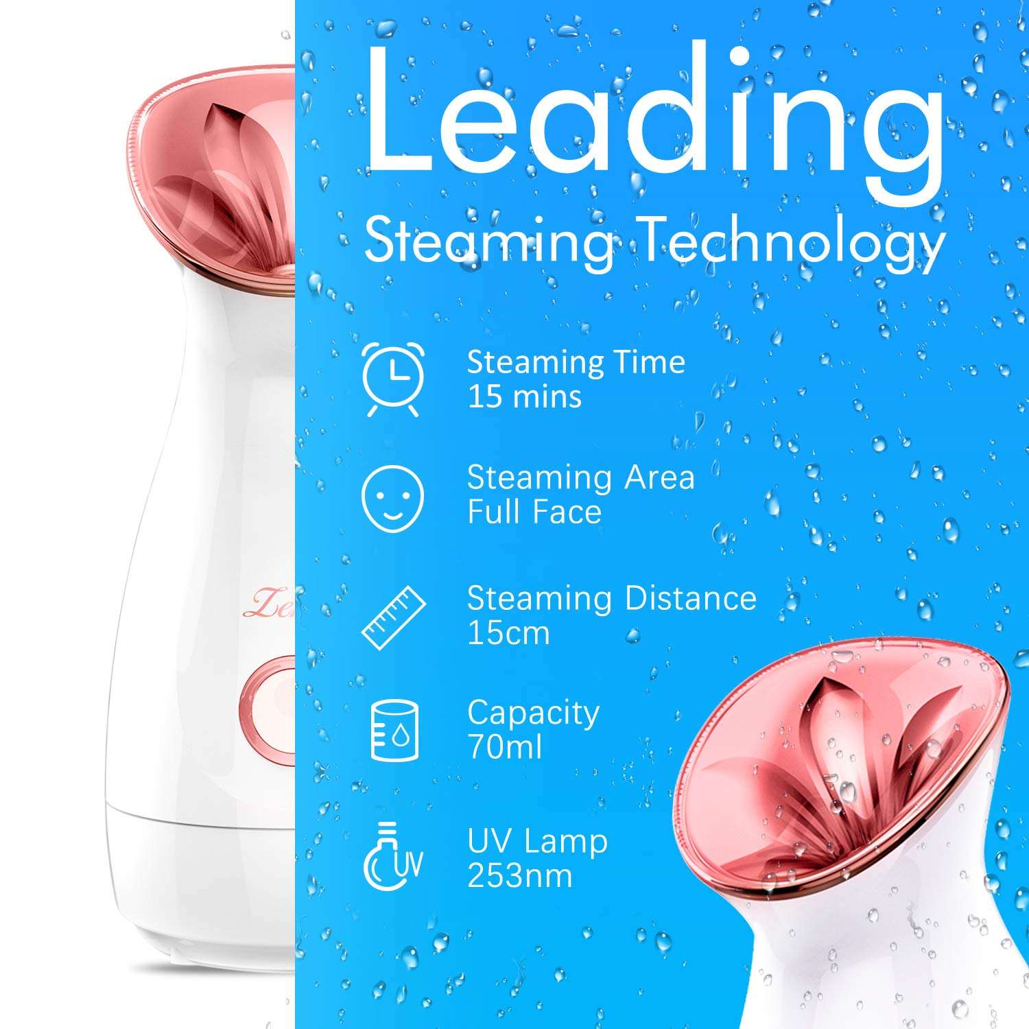 Facial Steamer Nano Ionic Hot Mist Face Steamer Home Sauna SPA Face Humidifier Atomizer for Women Men Moisturizing Unclogs Pores Spa Quality: Beauty