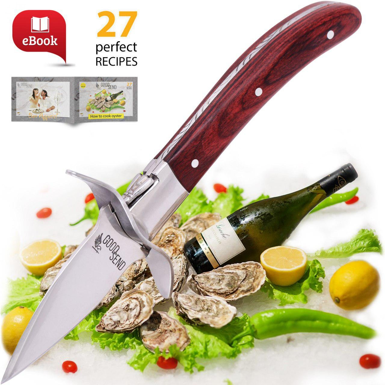 Oyster Knife - Oyster Shucking Knife - Oyster Shucker - Oyster Opener - Oyster Clam Pearl Shell Shucking Knife and Opening Tool – Includes 27 Recieps by GoodSend (Image #7)
