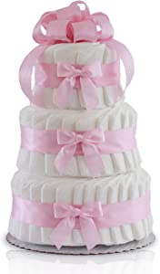 Classic Pastel Baby Shower Diaper Cake (3 Tier, Pink)