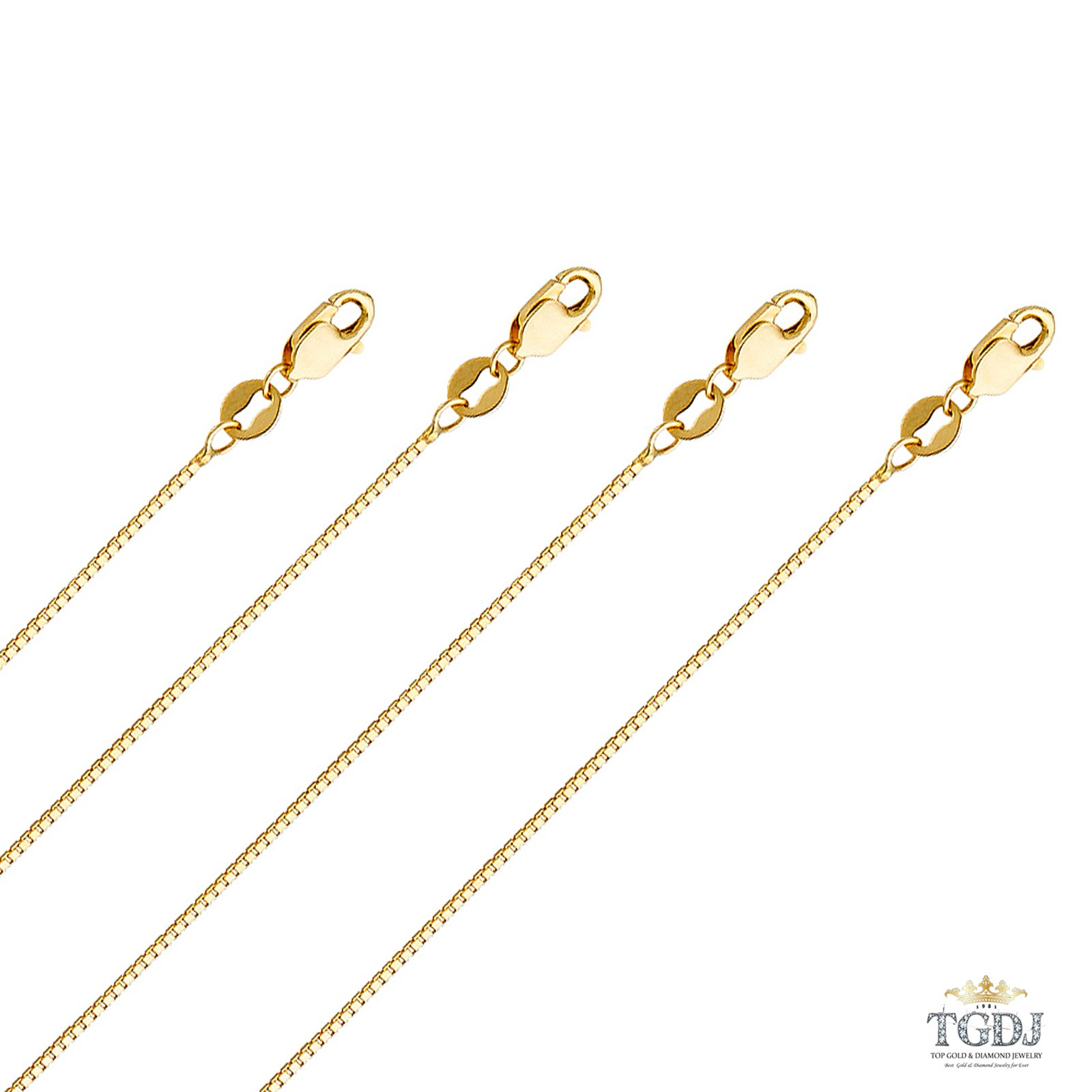 14K Solid Yellow Gold Box Chain Necklace (1 mm - 16 Inches)