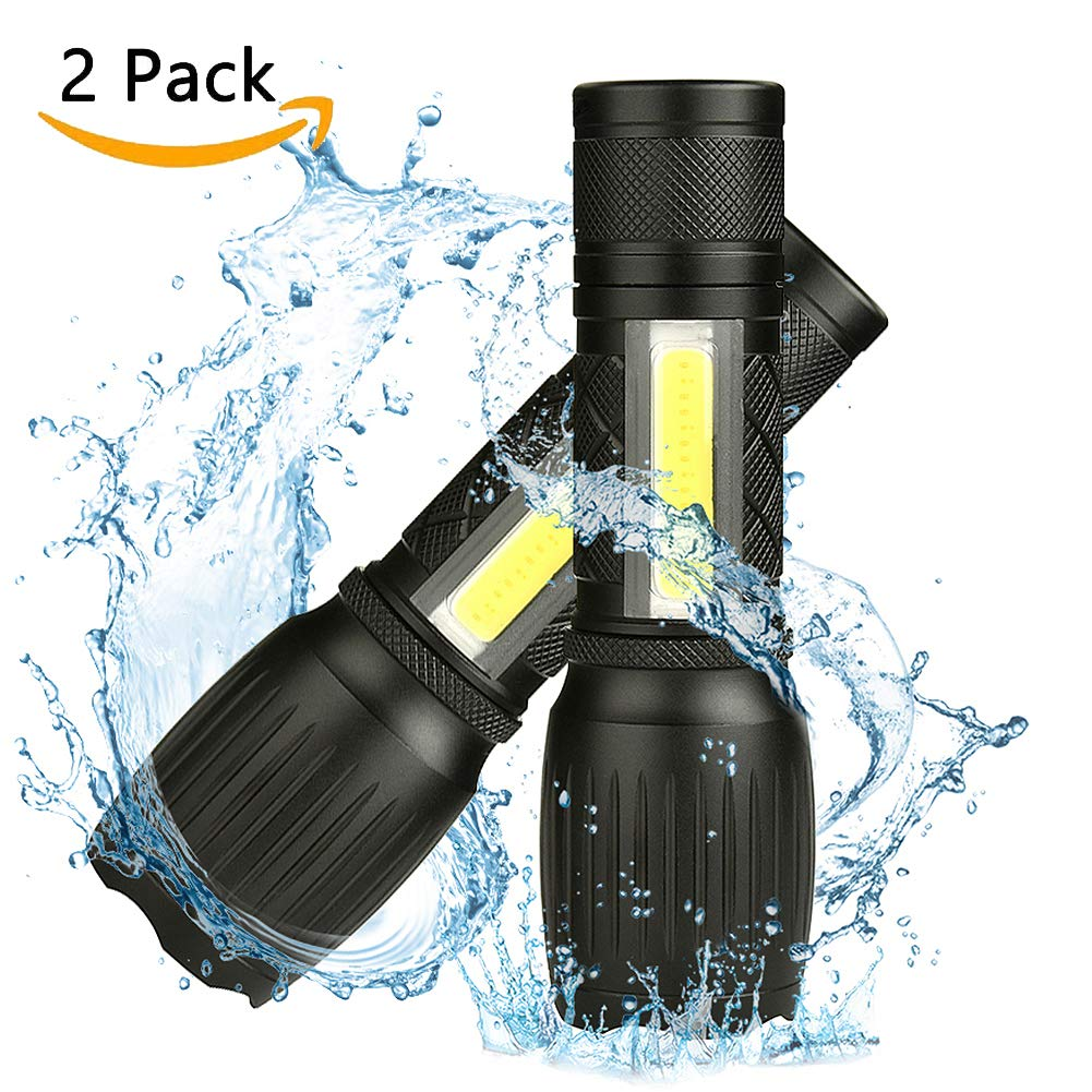 ustopfire Tactical Flashlight 2 Pack, TC1200 Best High Lumens Taclight Pro Small LED Flashlights with COB Lantern Magnetic Base, 6 Modes and Zoomable Waterproof Handheld Light for Camping Emergency