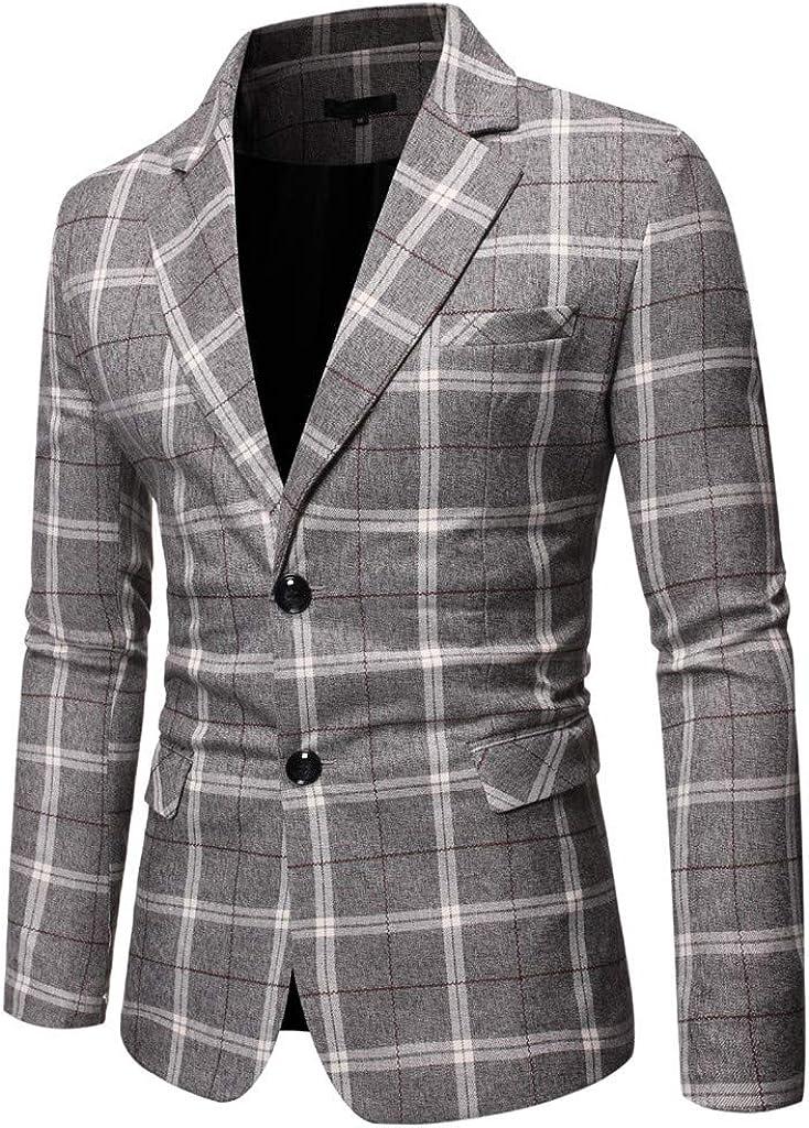 Mens Slim Fit Lapel Blazer Stylish Plaid Business Jacket Wedding Party Blouse Coat