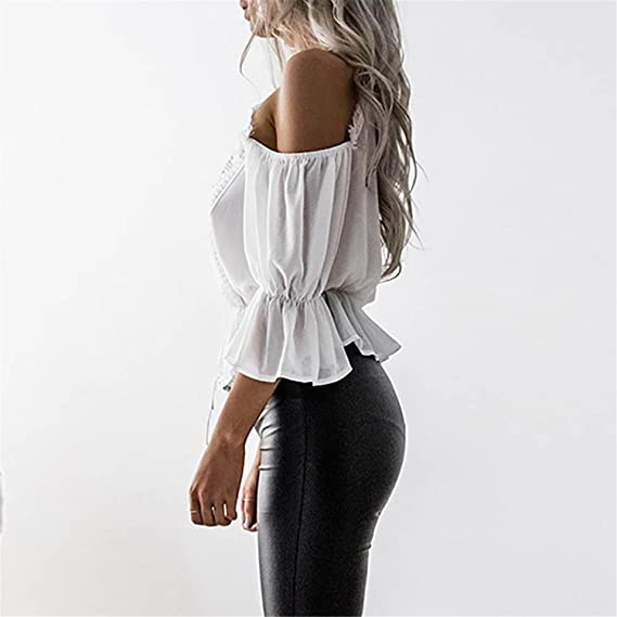 HANBINGPO Women Short Sleeve Off Shoulder Lace Chiffon Blouse Casual Tops Blusas De Moda Blouse Shirt at Amazon Womens Clothing store: