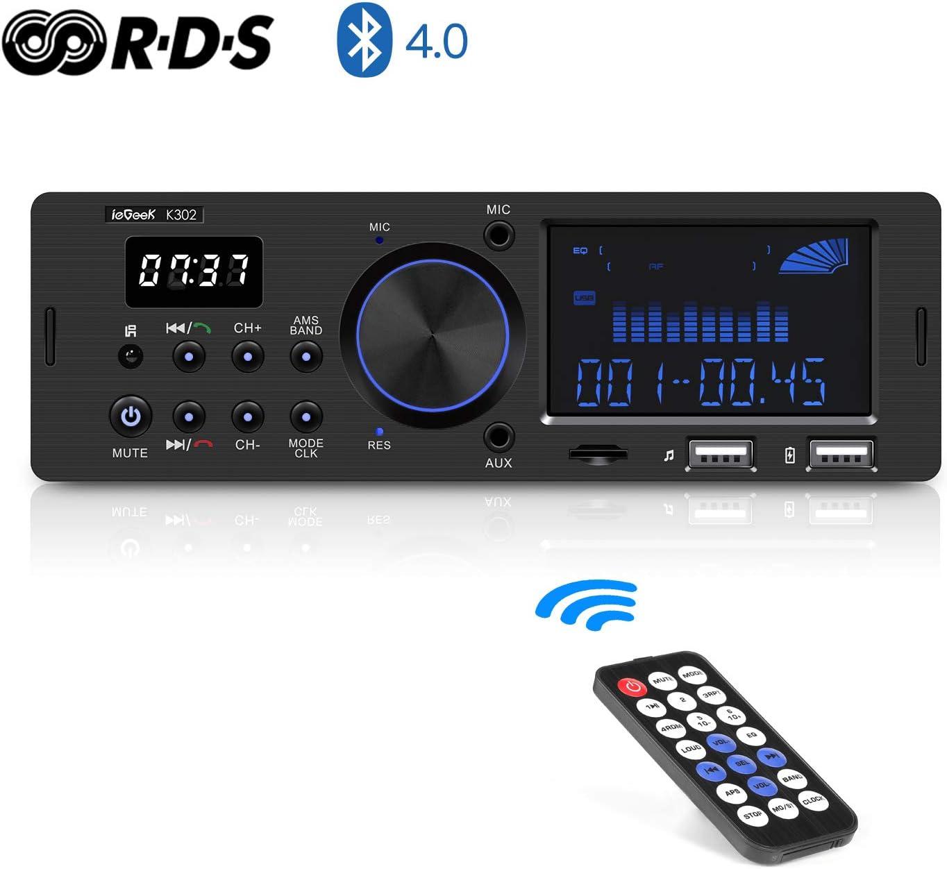 Autoradio Bluetooth Coche RDS Estéreo ieGeek, 60W X 4 Soporta FM/AM/AUX/FLAC/MP3/WMA/WAV, con Control Remoto, Reloj de visualización, Capacidad para 30 Emisoras de Radio, Manos Libres,1DIN