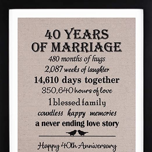 9th Anniversary Burlap Print with Frame, 9th Anniversary Gifts for  Couple, 9th Wedding Anniversary Gift for Her