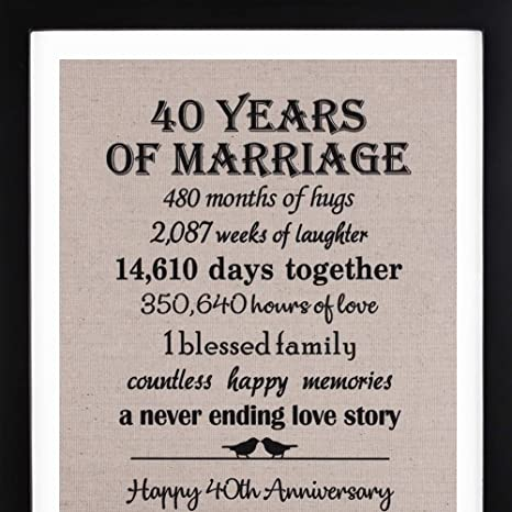 Amazon.com: 40th Anniversary Burlap Print with Frame, 40th Anniversary Gift for Couple, 40th Wedding Anniversary Gift for Him or Her: Kitchen & Dining
