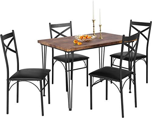 VECELO Industrial Style Table and 4 Chairs