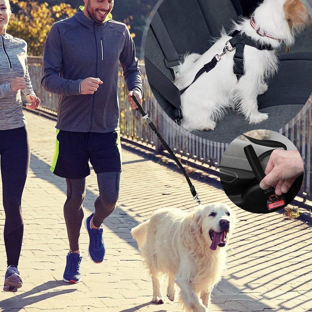 Dog Leash Adjustable Length - Reflective Nylon Webbing- High Elasticity Retractable Indestructible Dog Leash with Car Seat Belt Clip for Large & Medium Dogs Training, Walking and Car Travel (black)