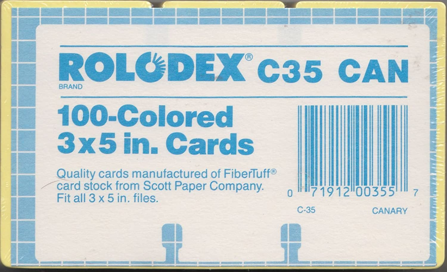 Pack of 100 Unlined CANARY YELLOW Rolodex Authentic and Original 3x5 Replacement cards Fitsl all 3 X 5 Rolodex files.