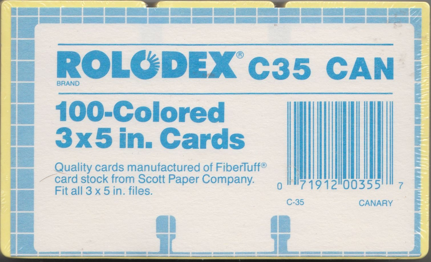 Rolodex Authentic and Original 3x5 Replacement cards. Unlined. Pack of 100. CANARY YELLOW. Fitsl all 3'' X 5'' Rolodex files.