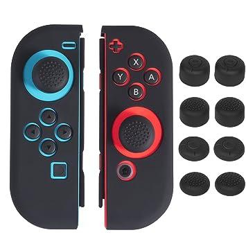Nintendo Switch Joy con Silicona Funda, Keten Protector Carcasa Antideslizante Gel Silicona Negra con Tapas Joystick para Mandos Nintendo Switch ...