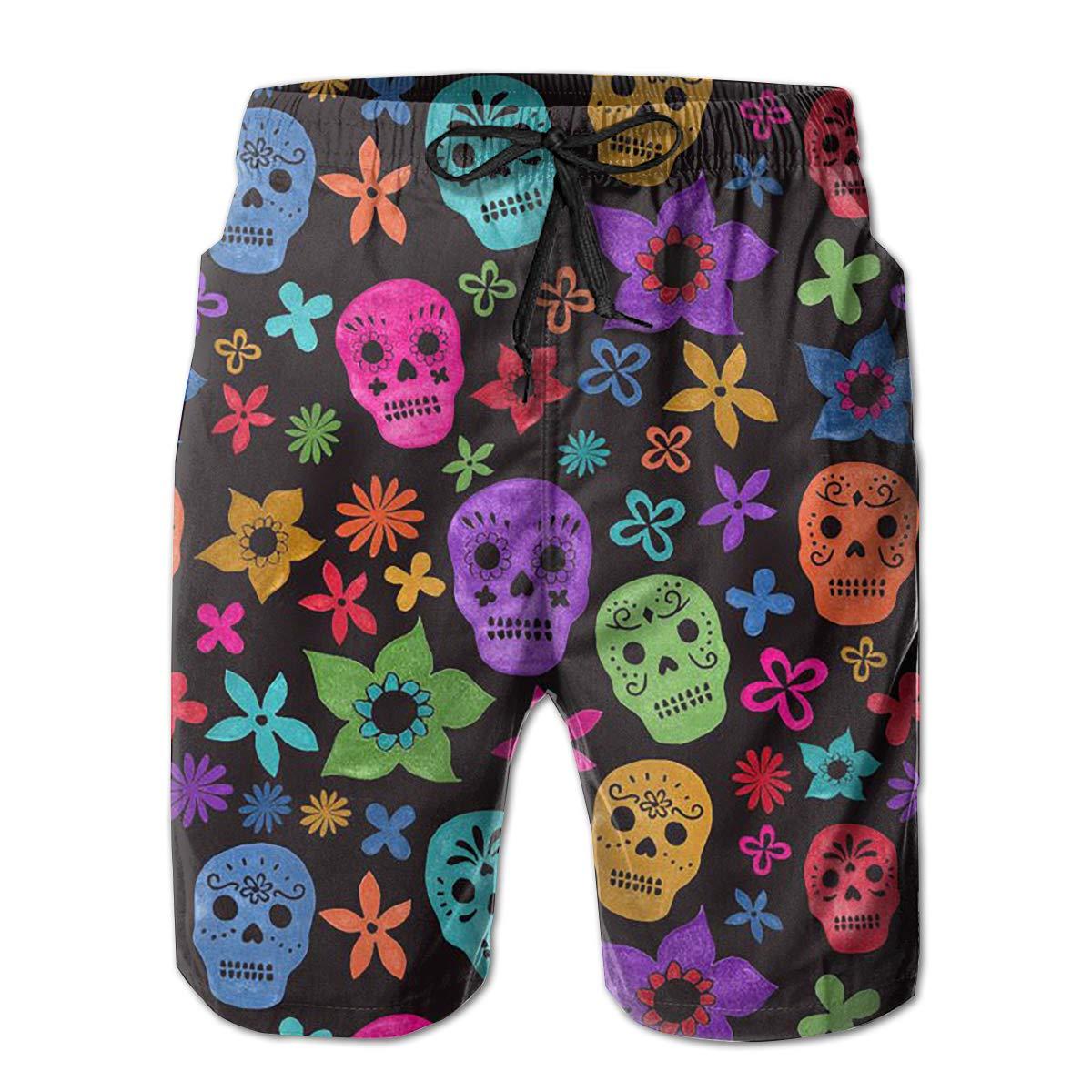 FUNSTYEET Halloween Wallpaper Skull Mens Board Shorts Swim Mesh Lining and Side Pocket