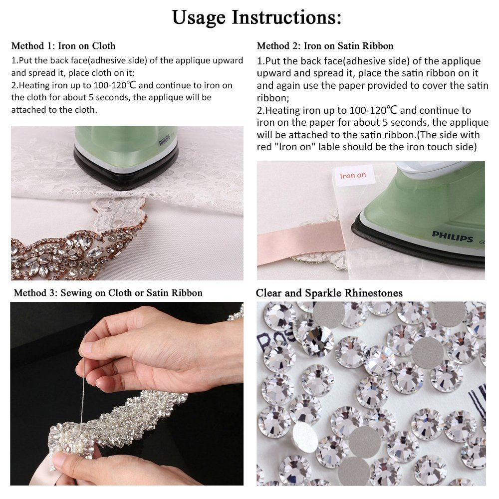 Rose Gold Wedding Crystal Sash Applique Sew Iron on Rhinestone Bridal Dress Belt Applique Sparkly for Bridesmaid Gown Women Prom Formal Dress Clothes Embellishments by XINFANGXIU (Image #6)