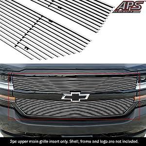 APS Compatible with 2016-2018 Chevy Silverado 1500 & 19 Silverado 1500 LD Main Upper Aluminum Chrome Horizontal Billet Grille Insert C66360A