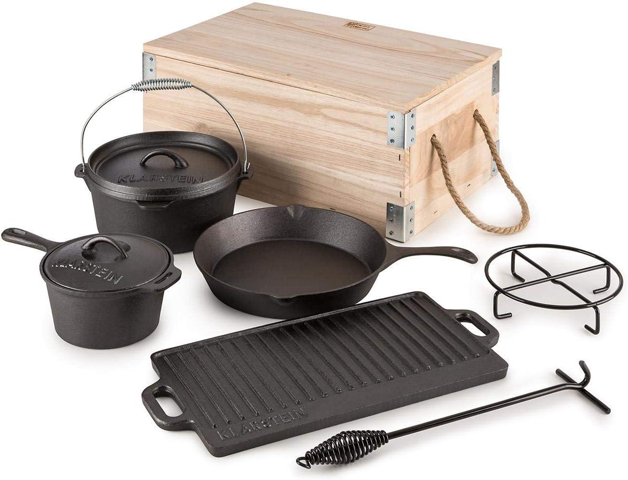 KLARSTEIN Hotrod Masterplan Juego de ollas de Hierro Fundido (Juego de 7 Piezas, para cocinar sobre Fuego o Parrilla Barbacoa, Cacerola, sartén, cazo, Tapa, Incluye Caja Transporte Madera)