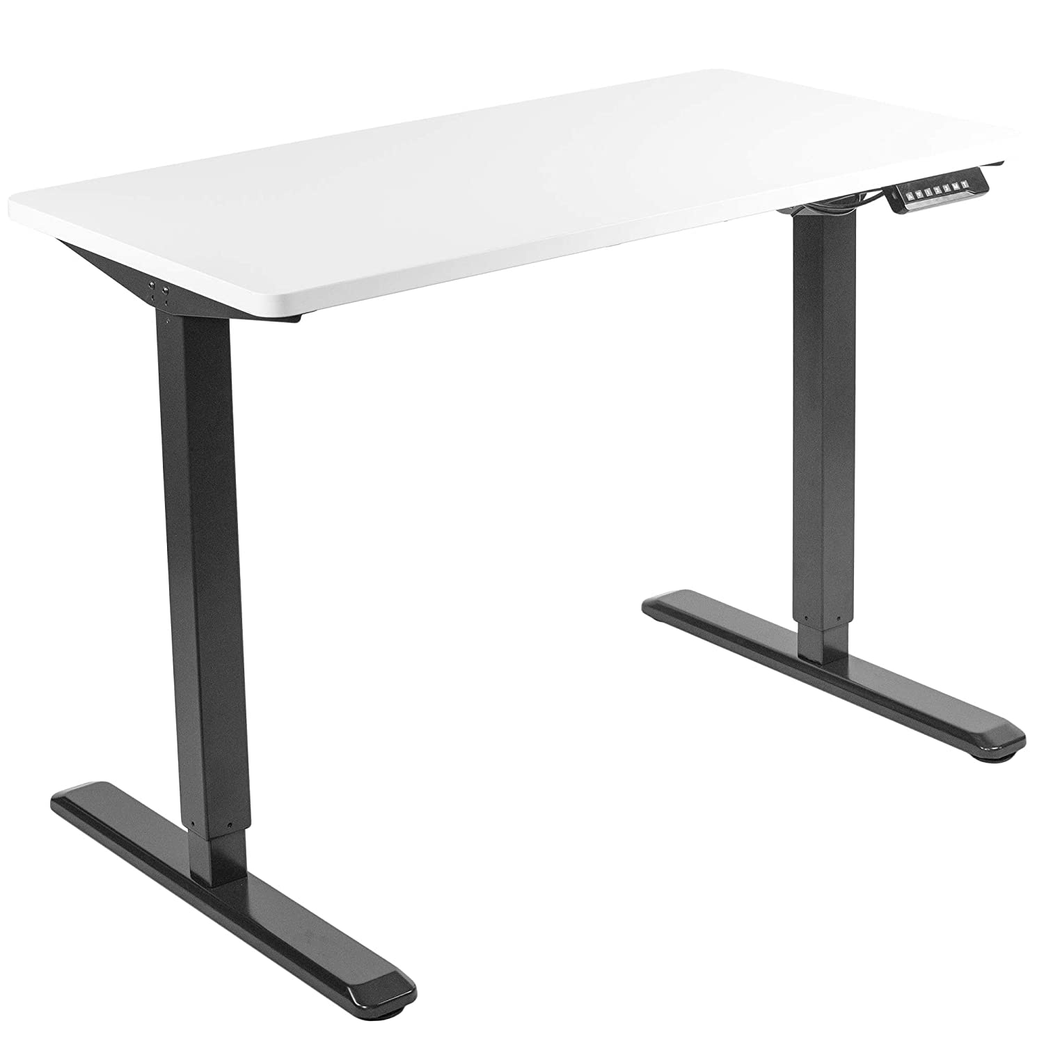 VIVO Electric 43 x 24 inch Stand Up Desk   White Table Top, Black Frame, Height Adjustable Standing Workstation with Memory Preset Controller (DESK-KIT-1B4W)