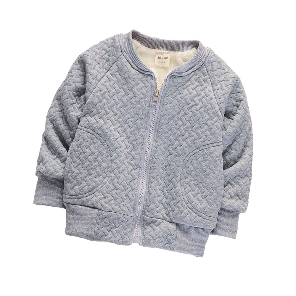 BibiCola Baby Boy Warm Coat Little Girl Fleece Jacket Winter Children Thicken Outerwear (24 Months, Gray)