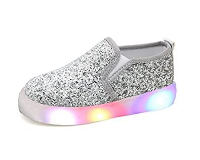 9b1d2fd92 Otamise Girls  Light Up Sequins Shoes Slip-on Flashing LED Casual Loafers  Flat Sneakers