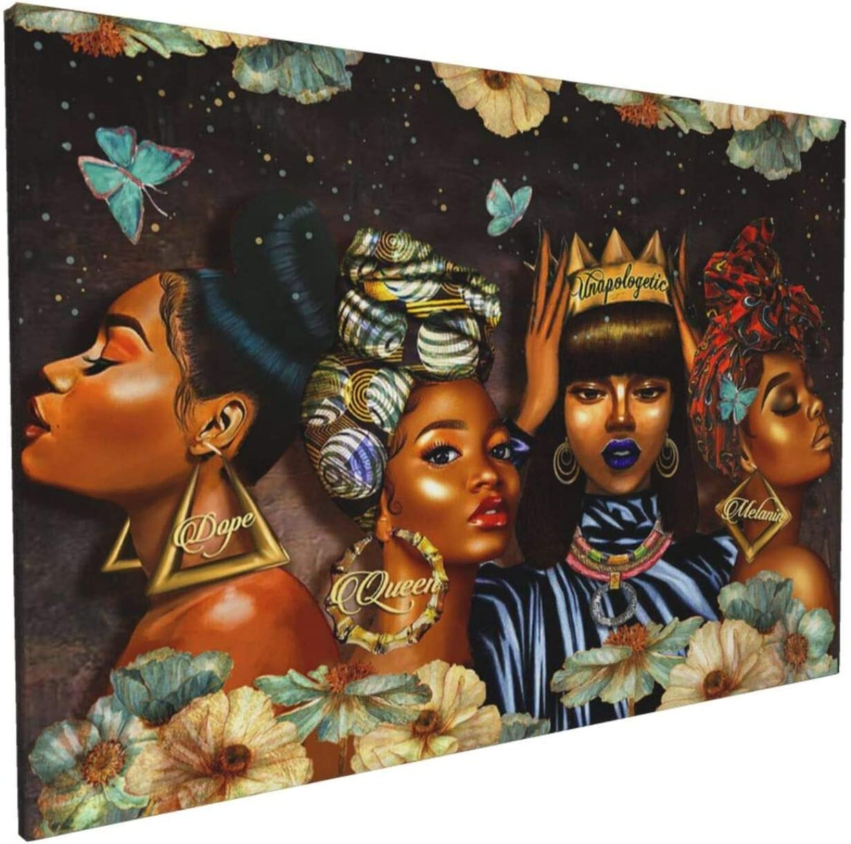 African American Wall Art Black Girl Canvas Print Wall Art Black Queen Painting Wall Decor Modern Artwork Home Decoration For Living Room Bedroom Bathroom Office Ready To Hang 16x24Inch