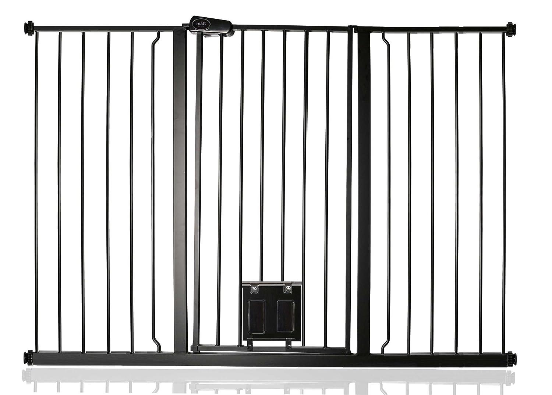 Bettacare Pet Gate Türschutzgitter mit verschließbare Katzenklappe matt schwarz Serie PETSCF/BC-BLACK