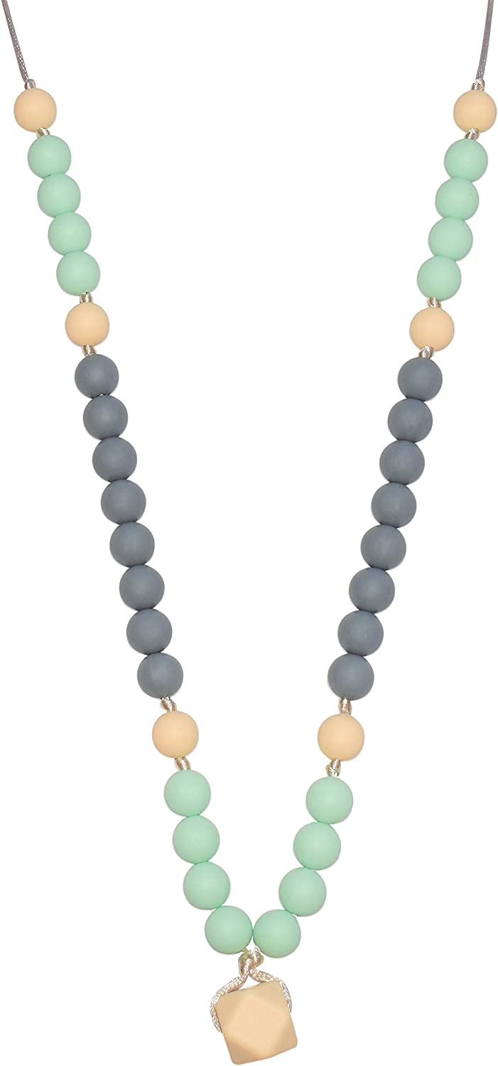 Pebbles Mint//White//Grey Munchables Baby Silicone Teething Necklace