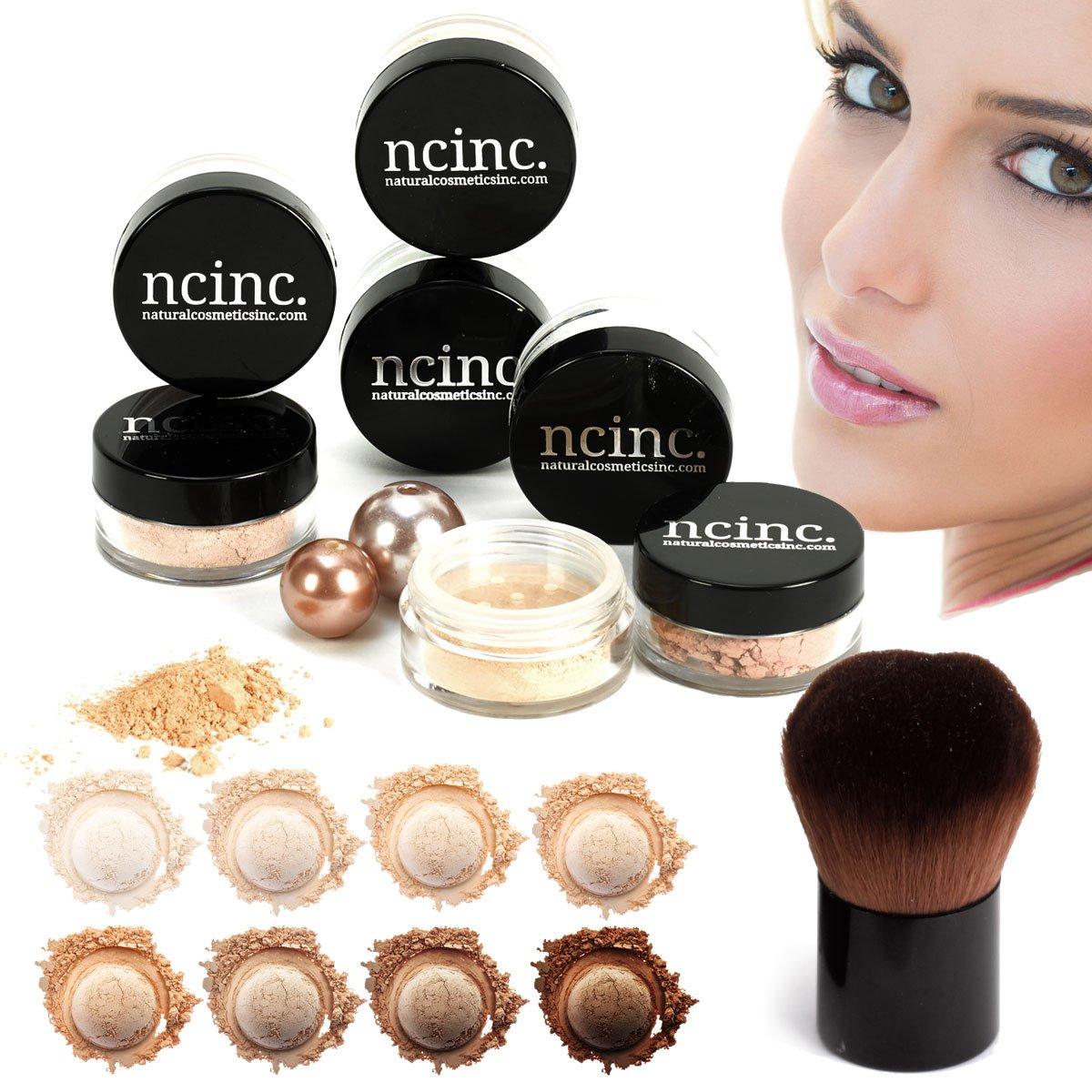 LIGHT SKIN 8pc Bare Naked Skin Mineral Makeup Set (Medium) by NCinc. + Kabuki Brush. Minerals Makeup Starter Kit NaturalCosmeticsInc