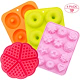 Silicone Donut Baking Pan,SPLAKS 4pcs Non-Stick Silicone BPA Free Molds Food-Safe Silicone Baking Tray Maker Pan Heat…