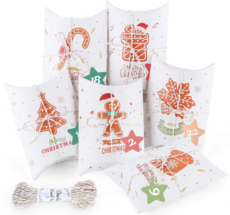 Mocraft Adventskalender zum Bef/üllen Pillow Wei/ß 24 Geschenkboxen Schachteln Weihnachten,Weihnachtskalender DIY Bastelset und Verzieren mit 24 Zahlenaufkleber
