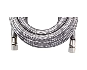 Certified Appliance Accessories Braided Stainless Steel Ice Maker Connector, 25ft