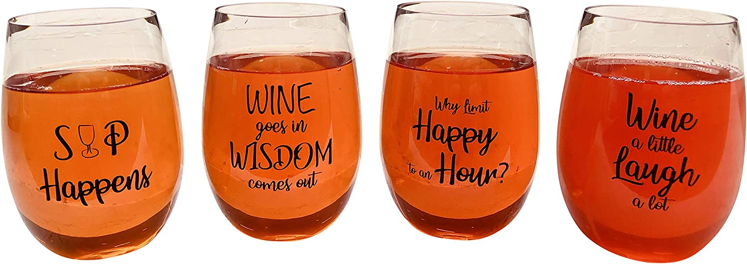 4 Wine Glasses Unbreakable Plastic in Great Box Funny and Durable Shatterproof Stemless Wine Beer Whiskey Cocktail any Beverage Outdoor Party Pool Camping Beach Take Anywhere 20oz (B)