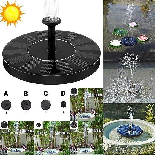 Fuente solar, bomba de agua solar, bomba de agua solar, bomba de agua solar, bombas flotantes para jardín, fuente, decoración para jardín, estanque de pájaros, depósito de pesca, piscina, Negro: Amazon.es: Jardín