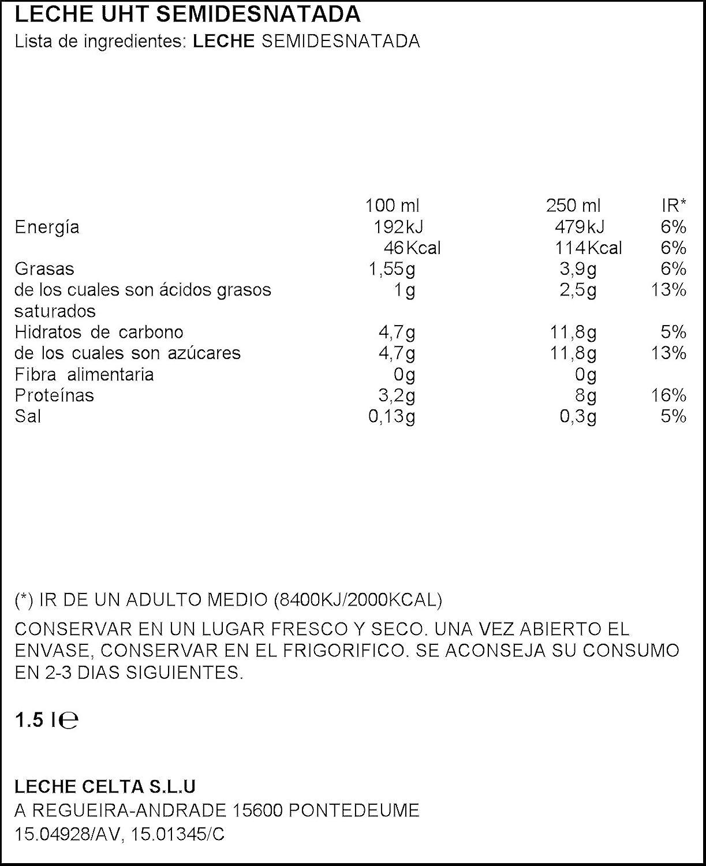 Celta - Leche UHT Semidesanatada - 1,5 L: Amazon.es: Alimentación y bebidas